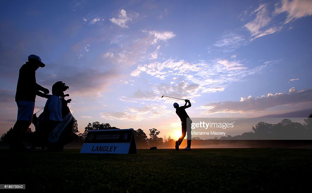 Scott Langley practices on the range prior to the start of play during the First Round of the Sanderson Farms Championship at the Country Club of Jackson on October 27, 2016 in Jackson, Mississippi.