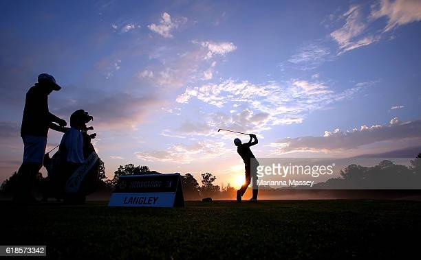 Scott Langley practices on the range prior to the start of play during the First Round of the Sanderson Farms Championship at the Country Club of...