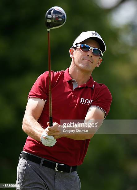 Scott Langley watches his drive on the second hole during the third round of the Webcom Tour Hotel Fitness Championship at Sycamore Hills Golf Club...