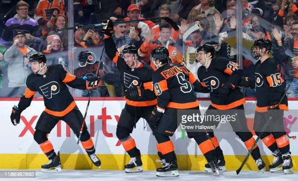 Scott Laughton, Kevin Hayes, Ivan Provorov, James van Riemsdyk and Matt Niskanen of the Philadelphia Flyers celebrate the go ahead goal against the...