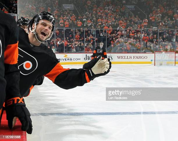 Scott Laughton of the Philadelphia Flyers celebrates a first period goal against the Dallas Stars on October 19, 2019 at the Wells Fargo Center in...