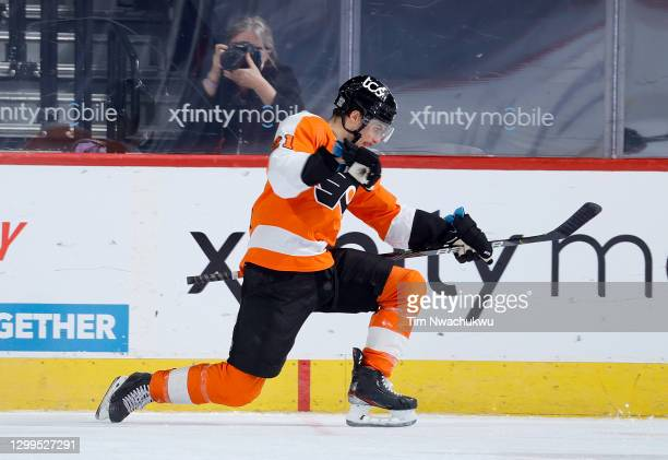 Scott Laughton of the Philadelphia Flyers celebrates after he scored the game winning goal in overtime against the New York Islanders at Wells Fargo...
