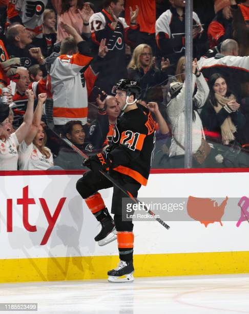 Scott Laughton of the Philadelphia Flyers celebrates his first period goal against the Detroit Red Wings on November 29, 2019 at the Wells Fargo...