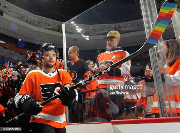 Scott Laughton of the Philadelphia Flyers enters the ice surface for warmups prior to his game against the Vancouver Canucks on February 4 2019 at...