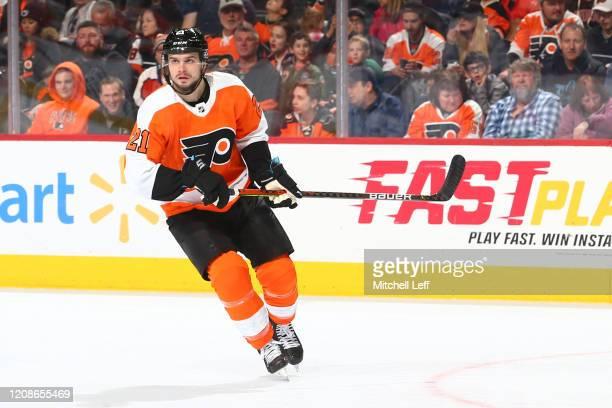 Scott Laughton of the Philadelphia Flyers looks on against the Winnipeg Jets at the Wells Fargo Center on February 22, 2020 in Philadelphia,...