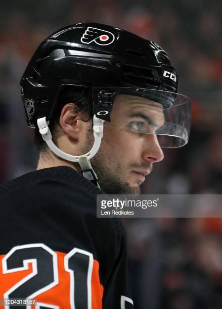 Scott Laughton of the Philadelphia Flyers looks on against the Colorado Avalanche on February 1, 2020 at the Wells Fargo Center in Philadelphia,...