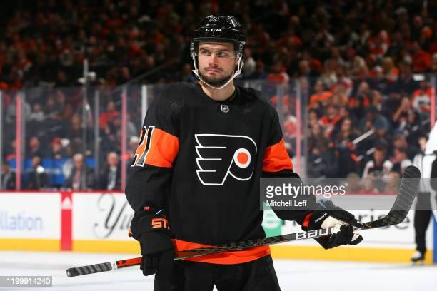 Scott Laughton of the Philadelphia Flyers looks on against the Tampa Bay Lightning at the Wells Fargo Center on January 11, 2020 in Philadelphia,...