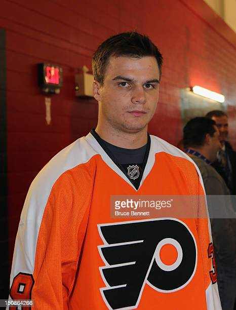 Scott Laughton of the Philadelphia Flyers meets with the media at the 2012 NHLPA rookie showcase at the MasterCard Centre on August 28 2012 in...