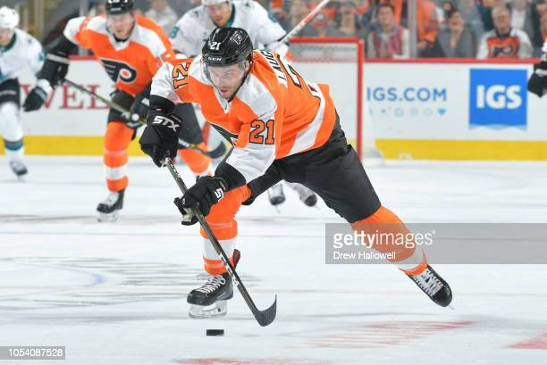 Scott Laughton of the Philadelphia Flyers passes against the San Jose Sharks at the Wells Fargo Center on October 9 2018 in Philadelphia Pennsylvania