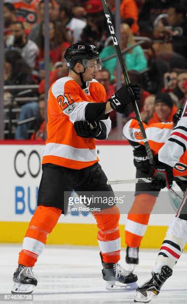 Scott Laughton of the Philadelphia Flyers prepares to faceoff against the Chicago Blackhawks on November 9 2017 at the Wells Fargo Center in...
