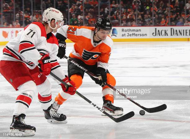 Scott Laughton of the Philadelphia Flyers skates against the Carolina Hurricanes at the Wells Fargo Center on April 06 2019 in Philadelphia...
