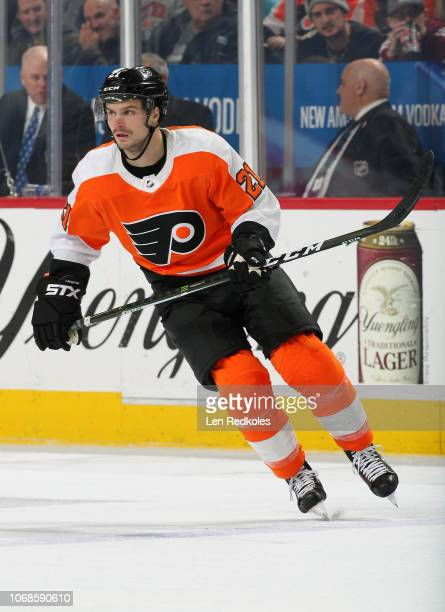 Scott Laughton of the Philadelphia Flyers skates against the Florida Panthers on November 13 2018 at the Wells Fargo Center in Philadelphia...