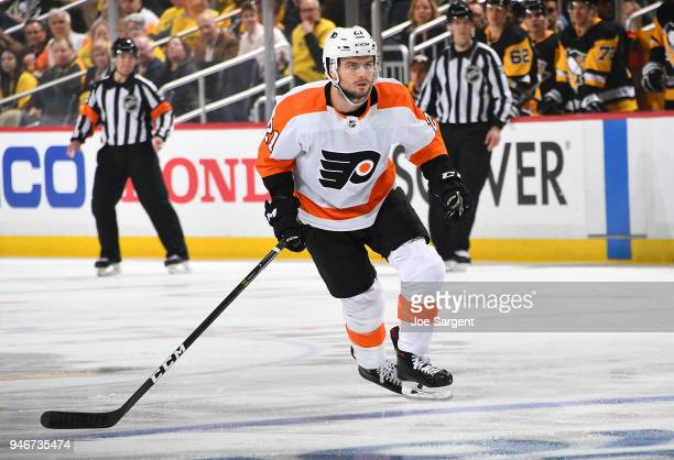 Scott Laughton of the Philadelphia Flyers skates against the Pittsburgh Penguins n Game One of the Eastern Conference First Round during the 2018 NHL...