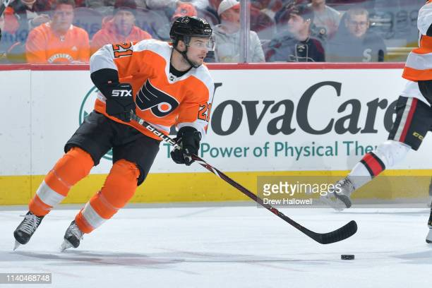 Scott Laughton of the Philadelphia Flyers skates against the Ottawa Senators in the first period at Wells Fargo Center on March 11 2019 in...