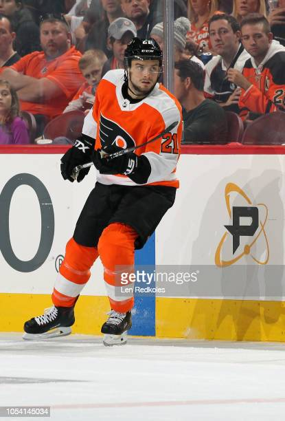 Scott Laughton of the Philadelphia Flyers skates against the San Jose Sharks on October 9 2018 at the Wells Fargo Center in Philadelphia Pennsylvania