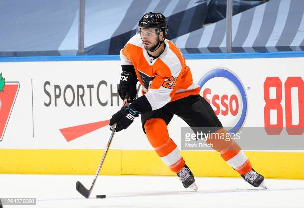 Scott Laughton of the Philadelphia Flyers skates in the third period of a Round Robin game during the 2020 NHL Stanley Cup Playoff at Scotiabank...