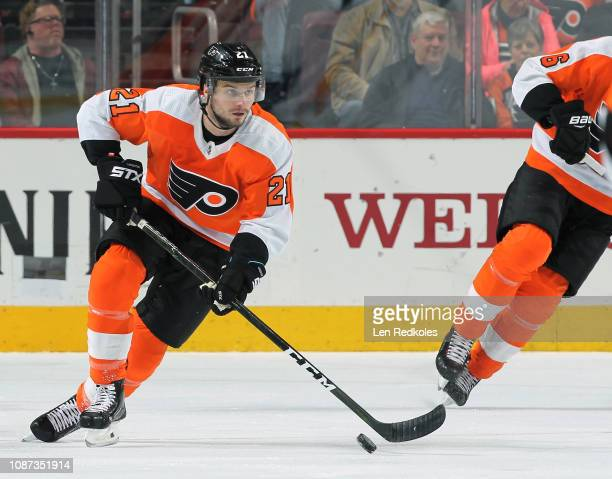 Scott Laughton of the Philadelphia Flyers skates the puck against the Nashville Predators on December 20 2018 at the Wells Fargo Center in...