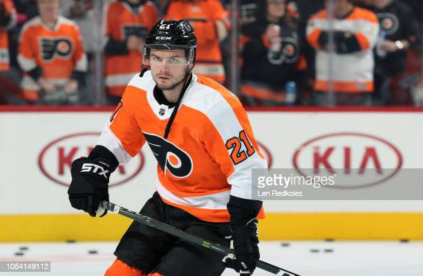 Scott Laughton of the Philadelphia Flyers warms up against the San Jose Sharks on October 9 2018 at the Wells Fargo Center in Philadelphia...