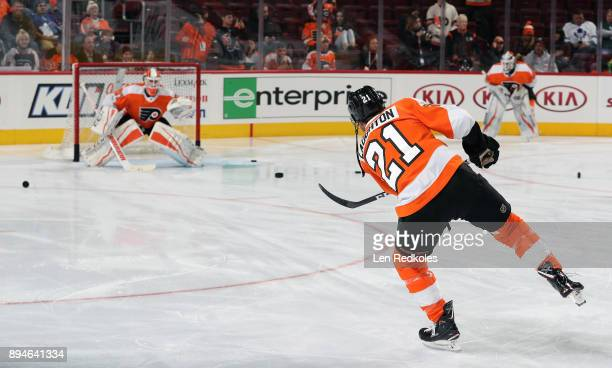 Scott Laughton of the Philadelphia Flyers warms up prior to his game against the Toronto Maple Leafs on December 12 2017 at the Wells Fargo Center in...
