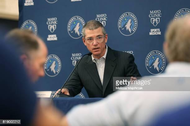 Scott Layden, General Manager of the Minnesota Timberwolves speaks to the press regarding Jamal Crawford signing to the Minnesota Timberwolves at The...