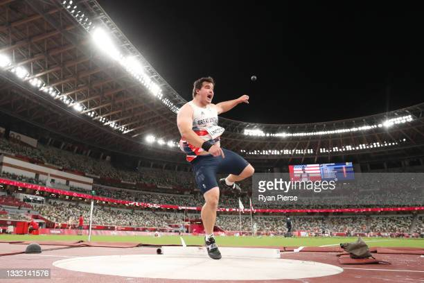 Scott Lincoln of Team Great Britain competes in the Men's Shot Put qualification on day eleven of the Tokyo 2020 Olympic Games at Olympic Stadium on...