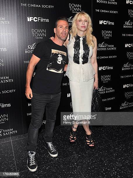 Scott Lipps and Courtney Love attend the Downtown Calvin Klein with The Cinema Society screening of IFC Films' Ain't Them Bodies Saints at Museum of...