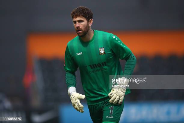 Scott Loach of Barnet during the Emirates FA Cup Second Round match between Barnet FC and Milton Keynes Dons at The Hive London on November 29, 2020...