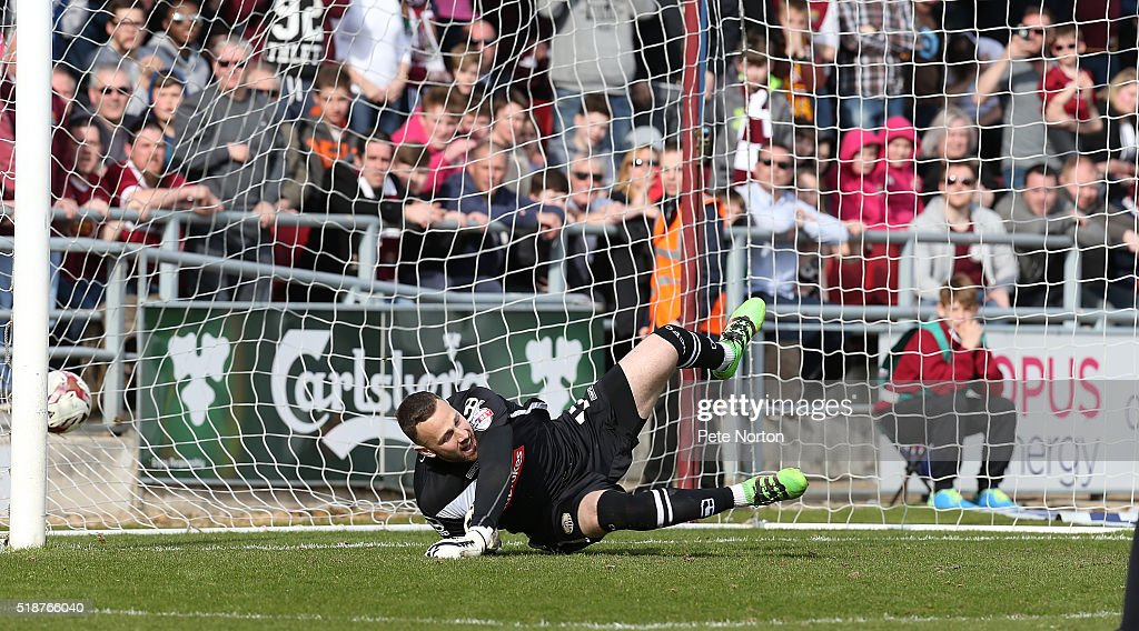 Scott Loach of Notts County is beaten by a penalty taken by Ricky Holmes of Northampton Town for his and his sides second goal during the Sky Bet League Two match between Northampton Town and Notts County at Sixfields Stadium on April 2, 2016 in Northampton, England.