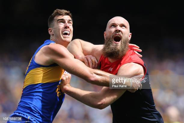 Christian Salem of the Demons tackles Liam Ryan of the Eagles during the AFL Prelimary Final match between the West Coast Eagles and the Melbourne...