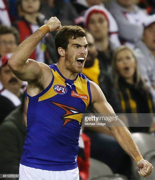 Scott Lycett of the Eagles celebrates a goal during the round 14 AFL match between the St Kilda Saints and the West Coast Eagles at Etihad Stadium on...
