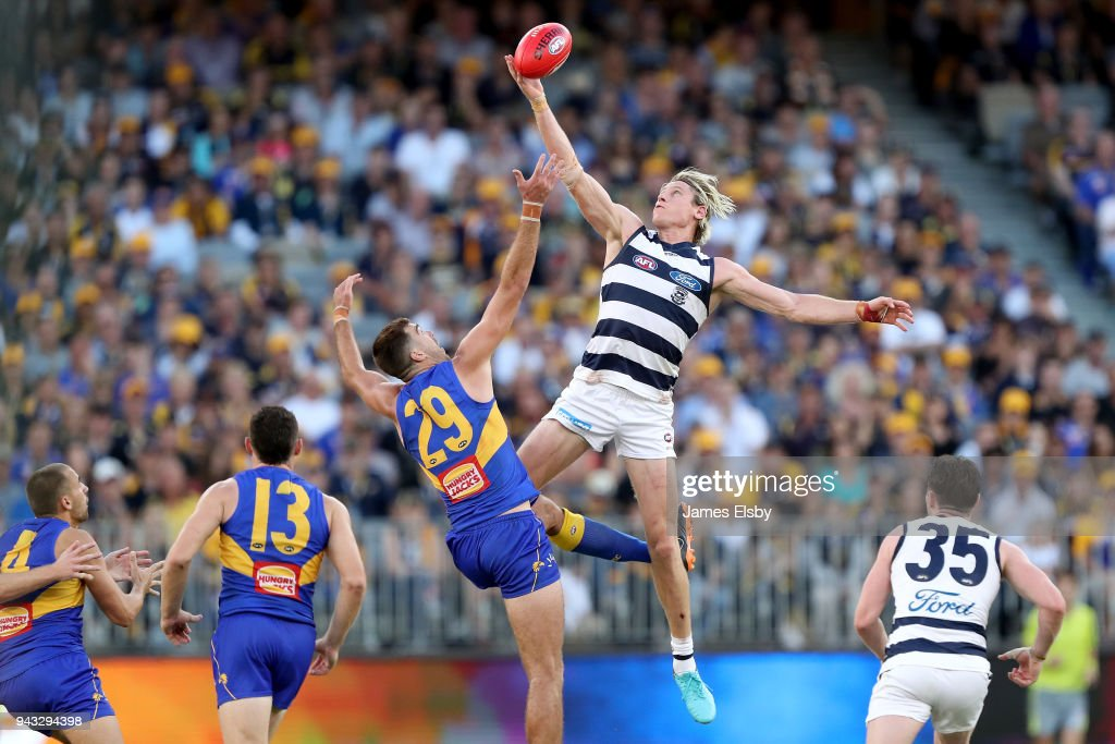 Scott Lycett of the Eagles competes with Mark Blicavs of the Cats during the round three AFL match between the West Coast Eagles and the Geelong Cats at Optus Stadium on April 8, 2018 in Perth, Australia.