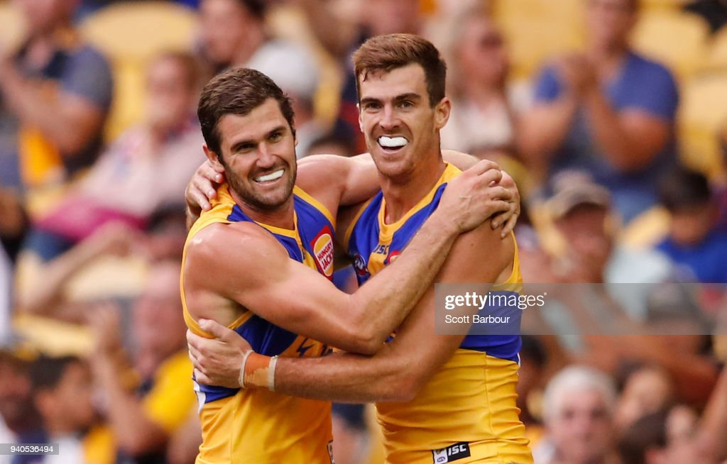 Scott Lycett of the Eagles is congratulated by Jack Darling of the Eagles after kicking a goal during the round two AFL match between the Western Bulldogs and the West Coast Eagles at Etihad Stadium on April 1, 2018 in Melbourne, Australia.