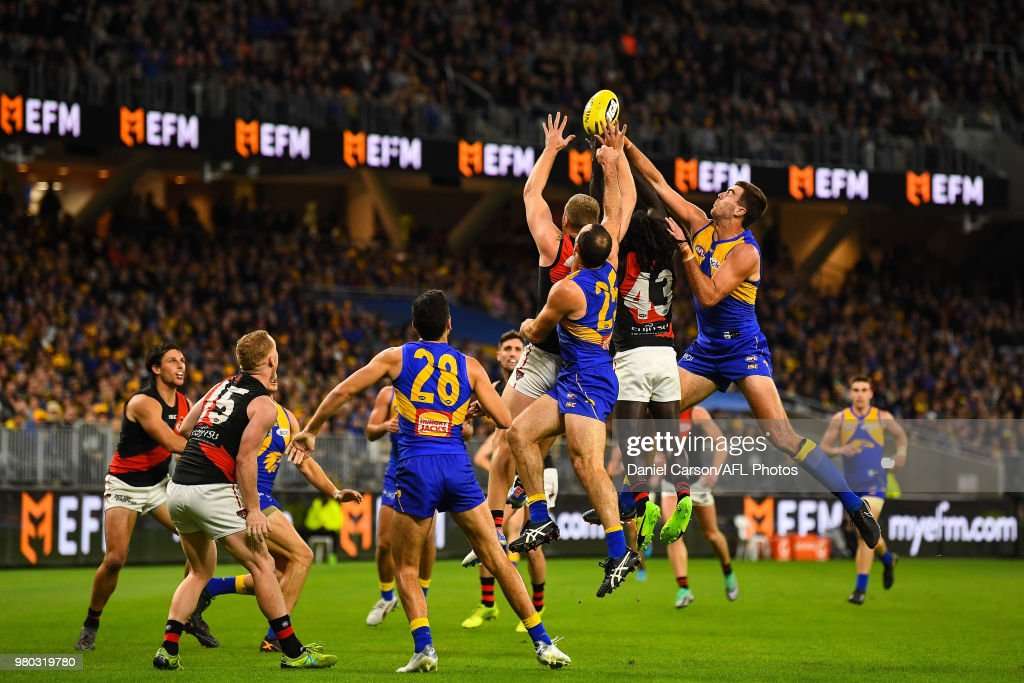 Scott Lycett of the Eagles spoils in a contest during the 2018 AFL round 14 match between the West Coast Eagles and the Essendon Bombers at Optus Stadium on June 21, 2018 in Perth, Australia.