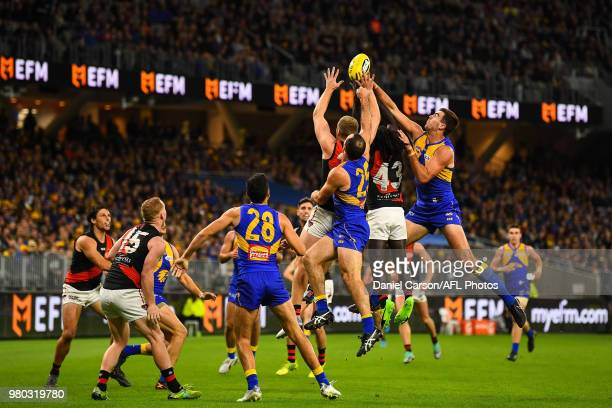 Scott Lycett of the Eagles spoils in a contest during the 2018 AFL round 14 match between the West Coast Eagles and the Essendon Bombers at Optus...