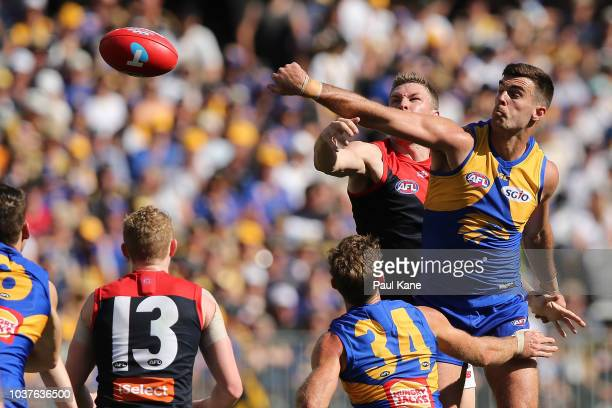 Scott Lycett of the Eagles wins a ruck contest against Tom McDonald of the Demonsduring the AFL Preliminary Final match between the West Coast Eagles...