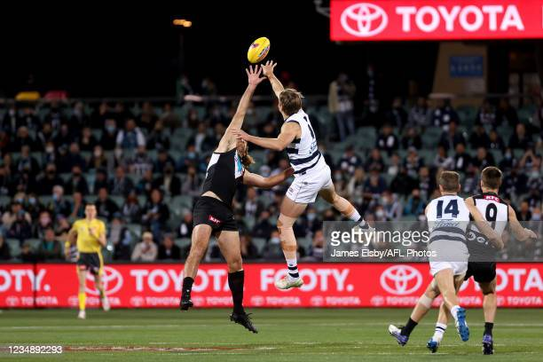 Scott Lycett of the Power competes with Rhys Stanley of the Cats during the 2021 AFL Round 23 match between the Adelaide Crows and the North...