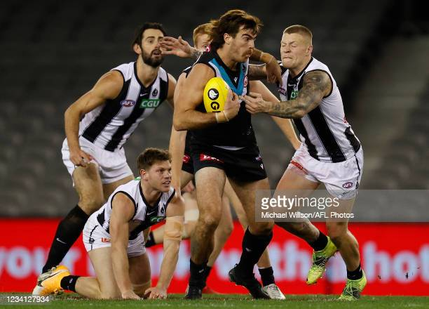 Scott Lycett of the Power in action during the 2021 AFL Round 19 match between the Port Adelaide Power and the Collingwood Magpies at Marvel Stadium...