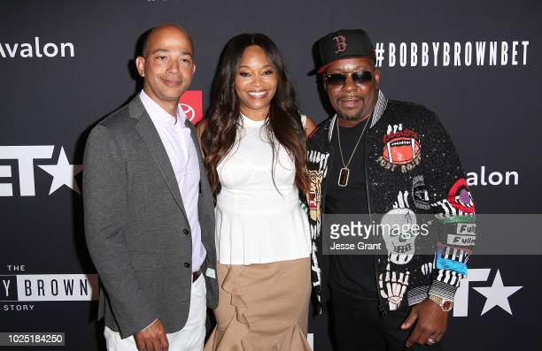 Scott M Mills Connie Orlando and Bobby Brown attend the premiere screening of The Bobby Brown Story presented by BET and Toyota at the Paramount...