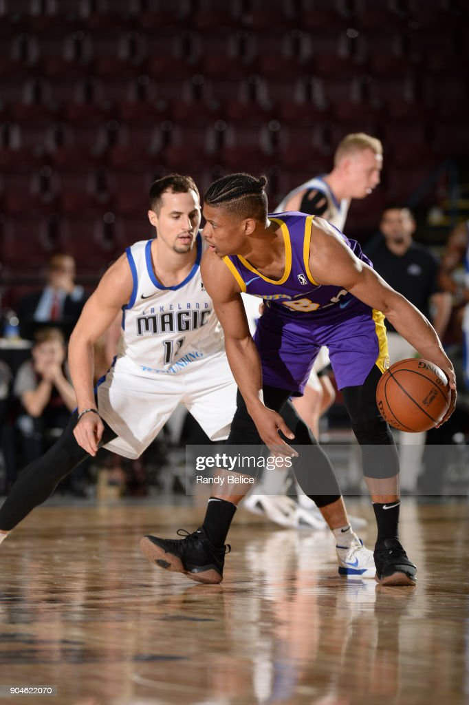 Scott Machado #8 of the South Bay Lakers handles the ball during the NBA G-League Showcase Game 24 between the South Bay Lakers and the Lakeland Magic on January 13, 2018 at the Hershey Centre in Mississauga, Ontario Canada.