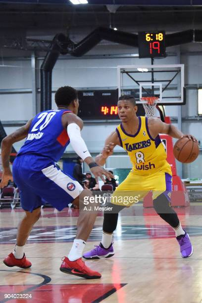 Scott Machado of the South Bay Lakers handles the ball during the game against the Long Island Nets NBA G League Showcase Game 11 on January 11 2018...