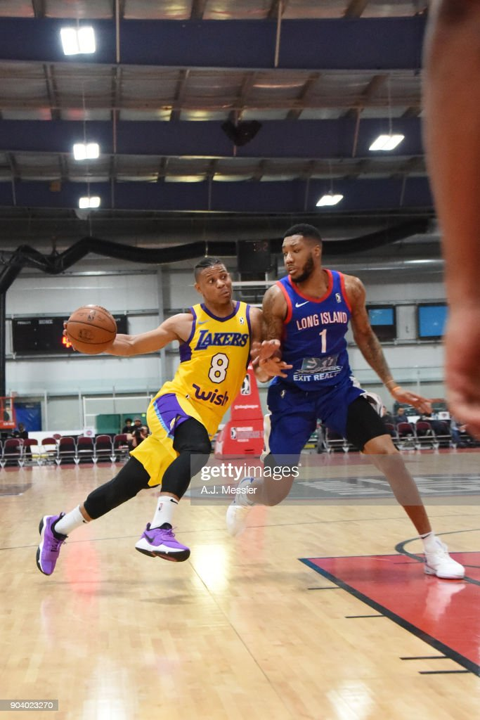 Scott Machado #8 of the South Bay Lakers handles the ball during the game against the Long Island Nets NBA G League Showcase Game 11 on January 11, 2018 at the Hershey Centre in Mississauga, Ontario Canada.