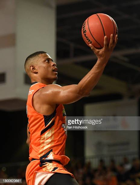 Scott Machado of the Taipans attempts a lay up during the round four NBL match between the Cairns Taipans and the New Zealand Breakers at Cairns Pop...