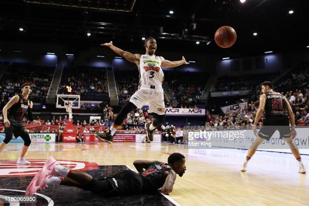 Scott Machado of the Taipans competes for the ball during the round two NBL match between the Illawarra Hawks and the Cairns Taipans at Wollongong...