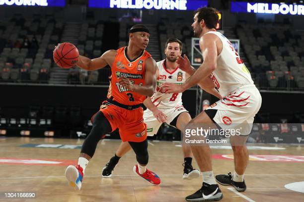 Scott Machado of the Taipans in action during the NBL Cup match between the Cairns Taipans and the Perth Wildcats at John Cain Arena on February 26...