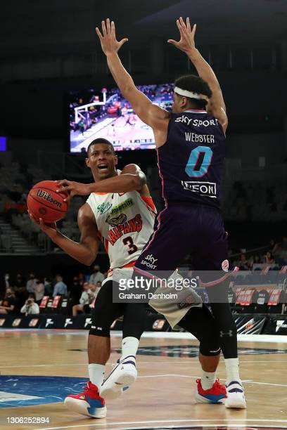 Scott Machado of the Taipans looks to pass during the NBL Cup match between the New Zealand Breakers and the Cairns Taipans at John Cain Arena on...