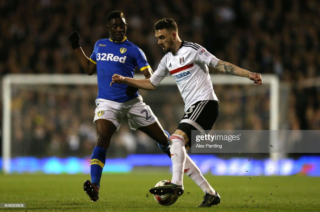 Scott Malone of Fulham and Hadi Sacko of Leeds United in action during the Sky Bet Championship match between Fulham and Leeds United at Craven Cottage on March 7, 2017 in London, England.