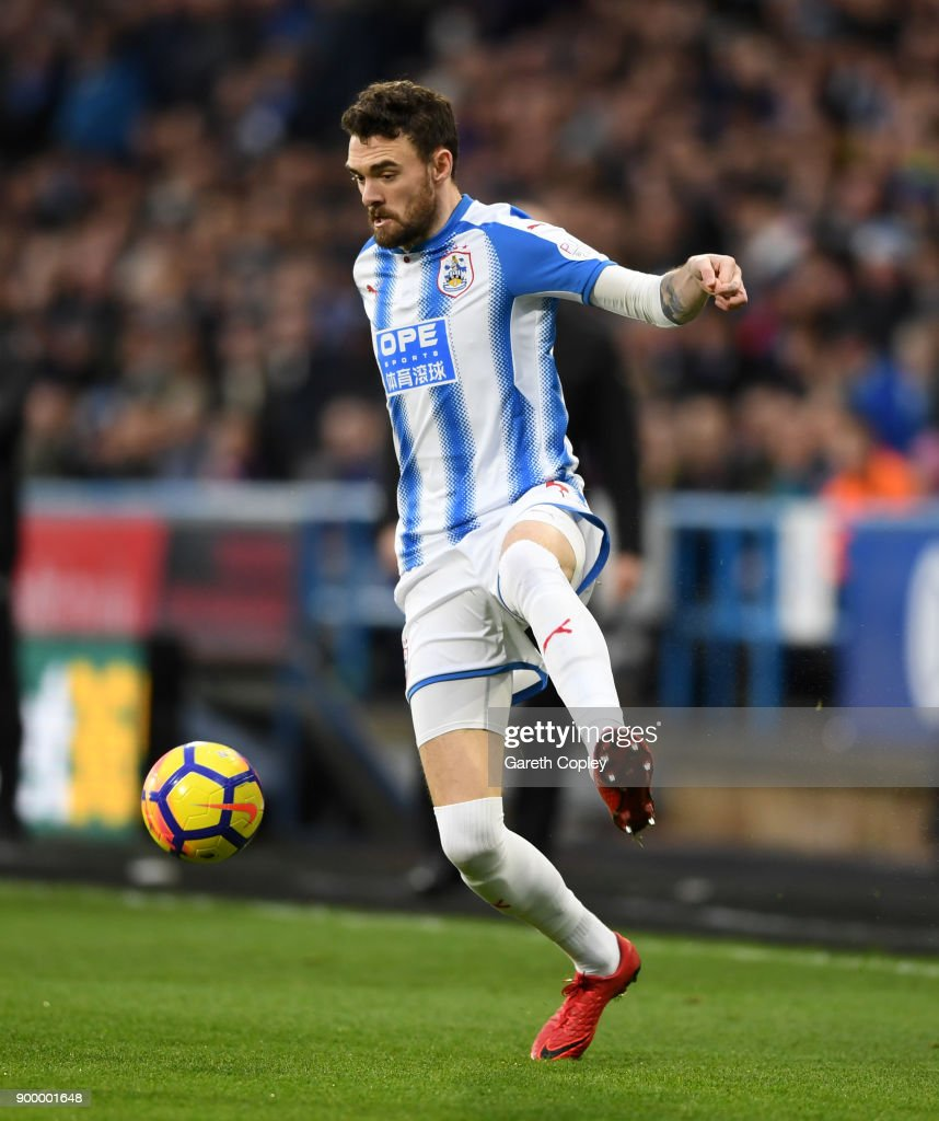 Scott Malone of Huddersfield during the Premier League match between Huddersfield Town and Burnley at John Smith's Stadium on December 30, 2017 in Huddersfield, England.