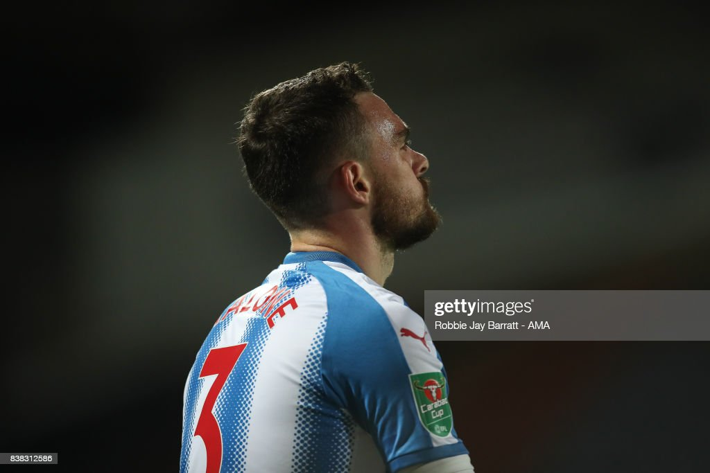 Scott Malone of Huddersfield Town during the Carabao Cup Second Round match between Huddersfield Town and Rotherham United at The John Smiths Stadium on August 23, 2017 in Huddersfield, England.