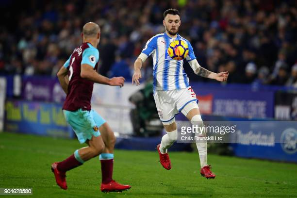 Scott Malone of Huddersfield Town in action during the Premier League match between Huddersfield Town and West Ham United at John Smith's Stadium on...