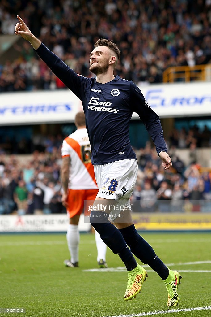 Scott Malone of Millwall celebrates after scoring to make it 2-0 during the Sky Bet Championship match between Millwall and Blackpool at The Den on August 30, 2014 in London, England.